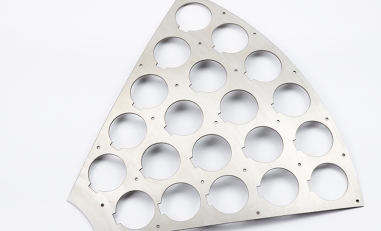 Waterjet cutting of steel plate.